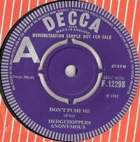 Hedgehoppers Anonymous - Don't Push Me/ Please Don't Hurt Your Heart For Me, rare UK original 1965 Decca 'A' label Demo