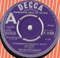 Beatstalkers, The - Ev'rybody's Talking 'Bout My Baby/ Mr. Disappointed, rare UK original 1965 Decca Demo