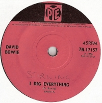 Bowie, David - I Dig Everything/ I'm Not Losing Sleep, very rare single from 1966 on the Pye Label, 7N.17157, pink Pye coloured label