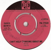Bowie, David with The Lower Third - Can't Help Thinking About Me/ And I Say To Myself, very rare single from 1966 on the Pye Label, 7N.17020, pink Pye coloured label