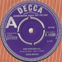 Jones, Tom - Thunderball/ Key To My Heart, rare UK original 1965 Decca 'A' label Demo, James Bond 007 title film soundtrack