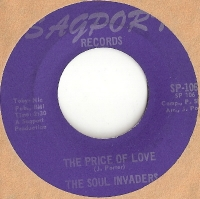 "Soul Invaders, The - The Price Of Love/ [Little Sherman & The Mod Swingers] The Price of Love, original U.S. 7"" single release on Sagport Records SP-106 in the 60's. rare and excellent Northern Soul recording"